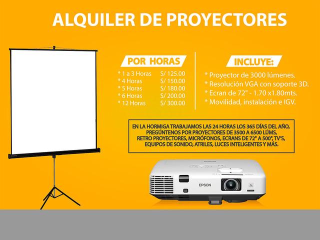 ALQUILER DE PROYECTOR MULTIMEDIA, ECRAN Y EQUIPOS AUDIOVISUALES