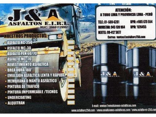 VENTA DE EMULSION ASFALTIA RC-250 ESTABLE PUESTO EN OBRA PUESTO EN OBRA
