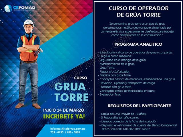 CAPACITACION DE OPERADOR DE GRUA TORRE - 14 al 23 DE MARZO