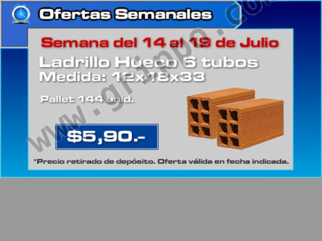 Oferta semanal ladrillo hueco de 6 tubos de 12x18x33 cm - Precio ladrillo hueco ...