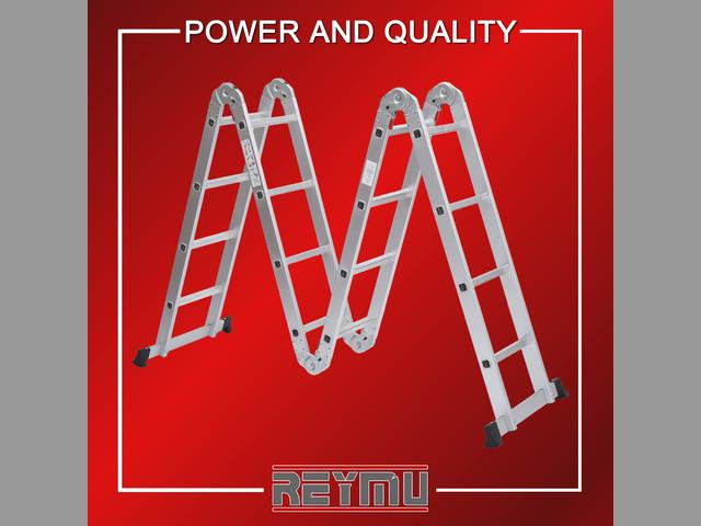 Escaleras de Aluminio plegables de 12 escalones Reymu