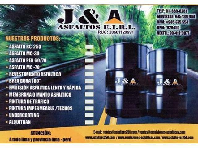 Venta de Asfalto, Bitumen, thinner acrilico, brea solida, producto de la