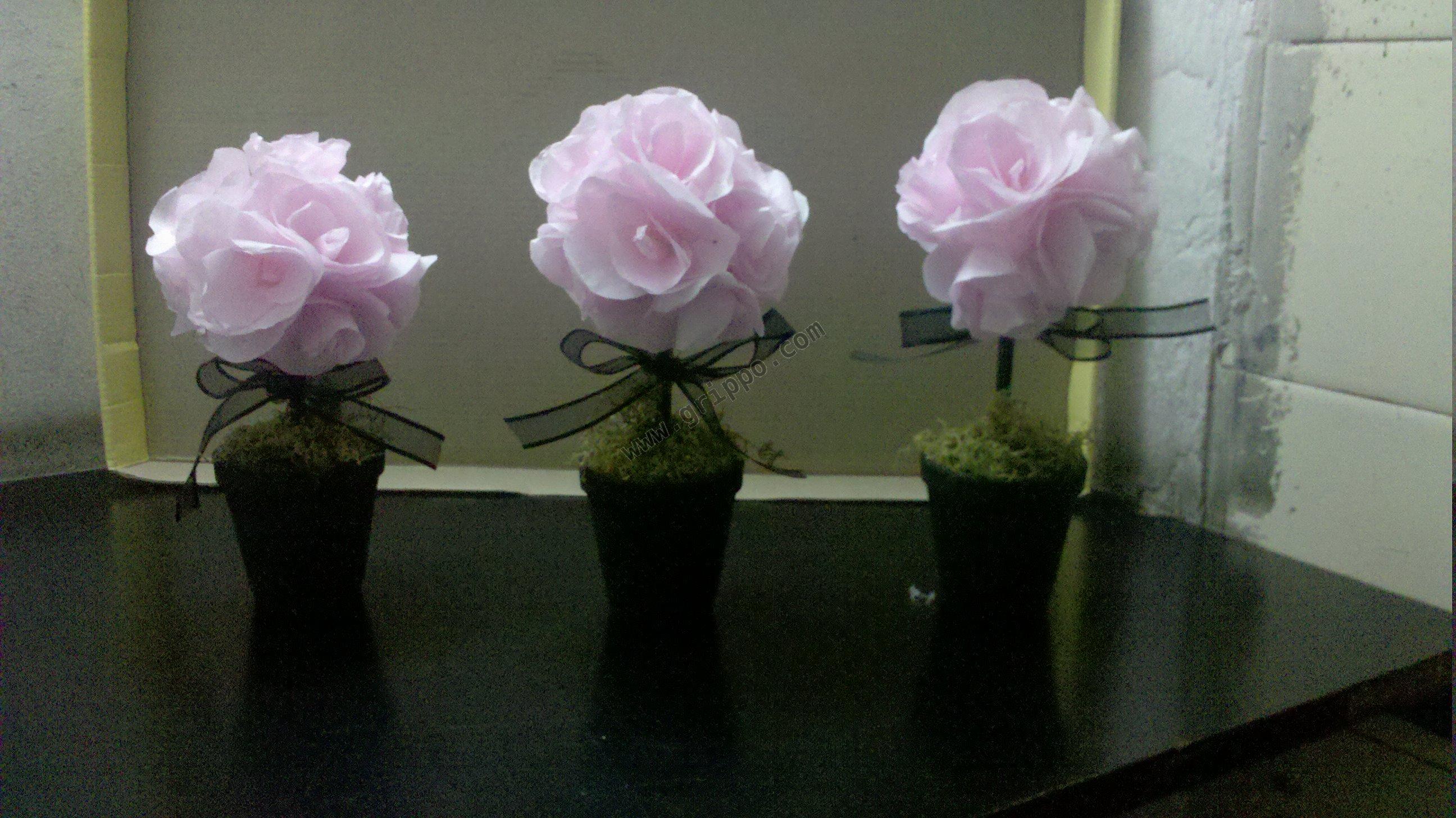 Arbolitos de flores de papel centro de mesas - Centros de mesa de papel ...