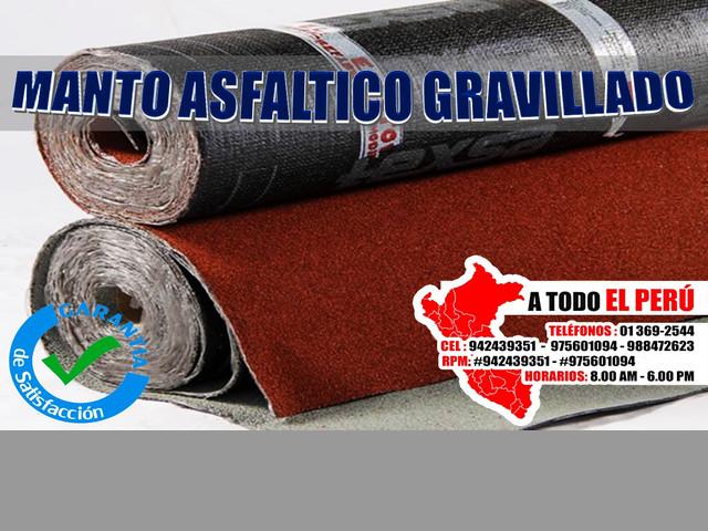 Manto asfaltico gravillado colores rojo y gris en stock #942439351