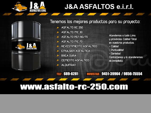 VENTA DE ASFALTO LIQUIDO RC 250 - SERVICIO DE ASFALTADO