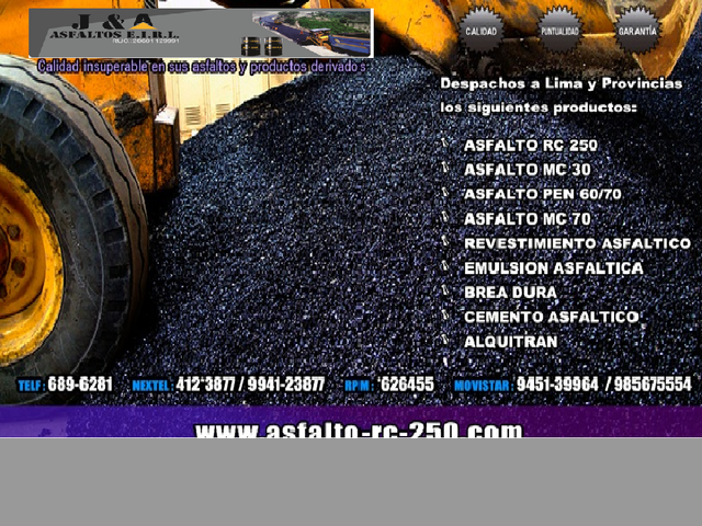 Asfalto RC-250, MC-30, MC-70, Cemento Asfáltico, productos de calidad en