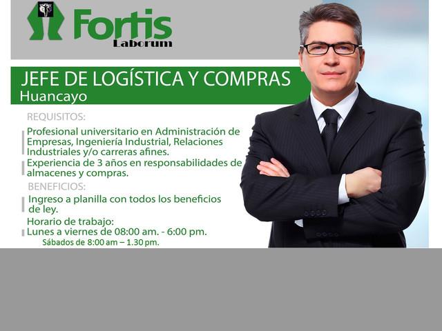 JEFE DE LOGÍSTICA Y COMPRAS (Sector Consumo Masivo Alimentos) (Zona Huan