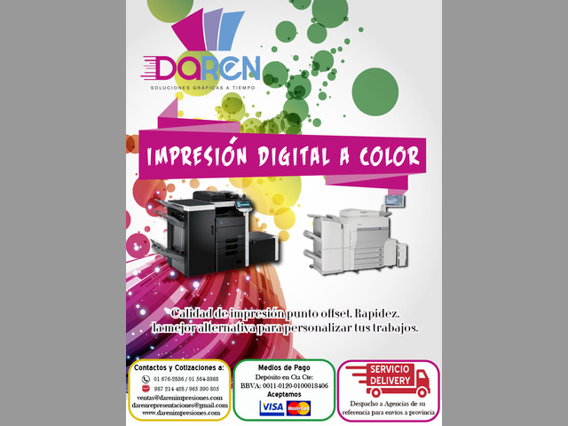 IMPRESIONES LASER DIGITAL A COLOR
