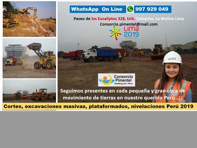 Movimiento de Tierras Masivos, Excavaciones, Eliminación Desmonte Lima P