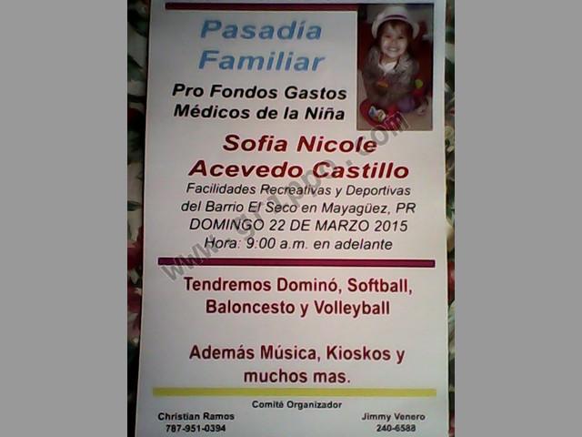 Pasadia Familiar Pro Fondos  Gastos medicos de la Niña sofia Nicole