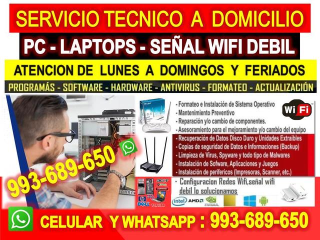 Servicio tecnico a internet wifi computadoras y laptops a domicilio