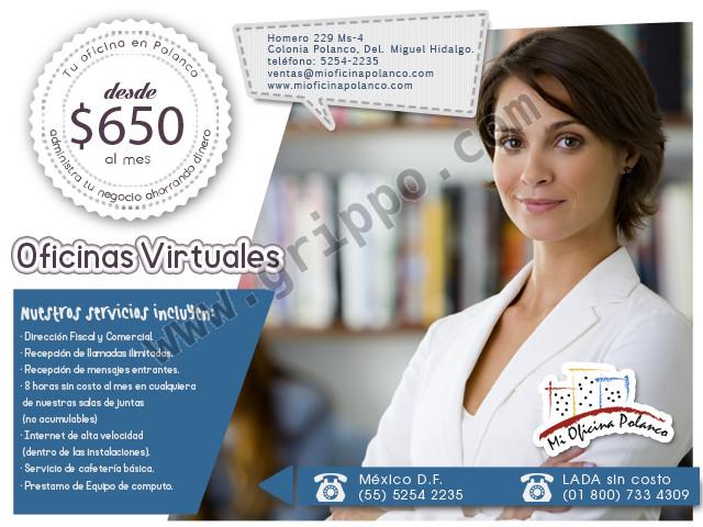Oficinas virtuales en Polanco desde $650 al mes