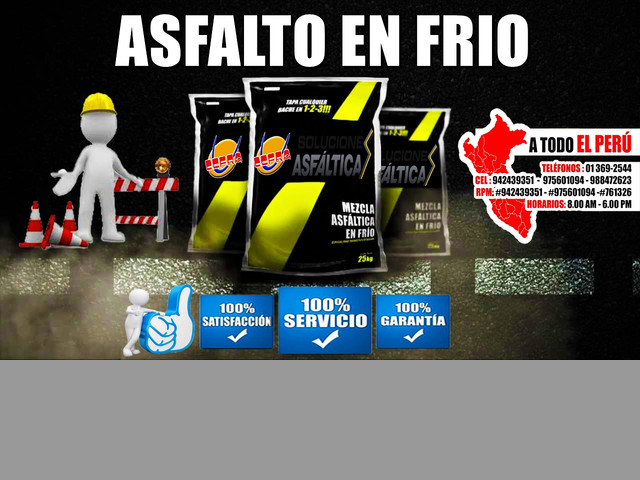 ASFALTO EN FRIO Y CALIENTE PUESTO EN OBRA CONSULTE!!!