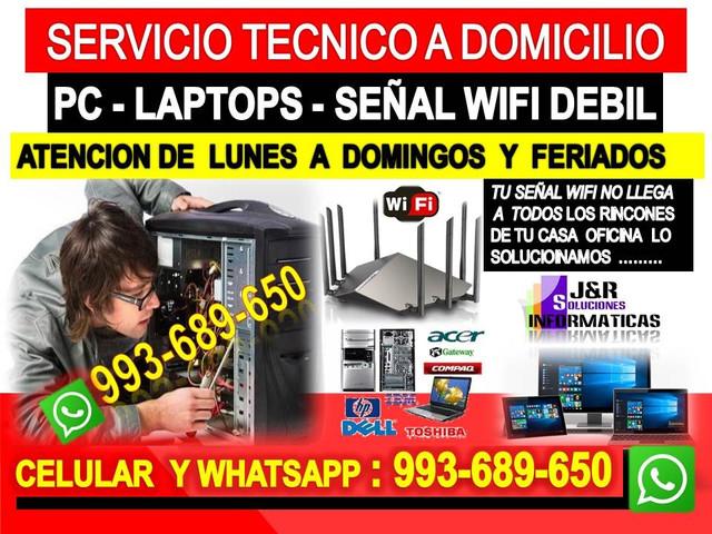 Tecnico wifi Pcs laptops formateos cableados a domicilio