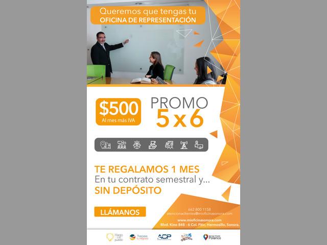Servicio de Oficinas de Representación $500 al mes mas iva