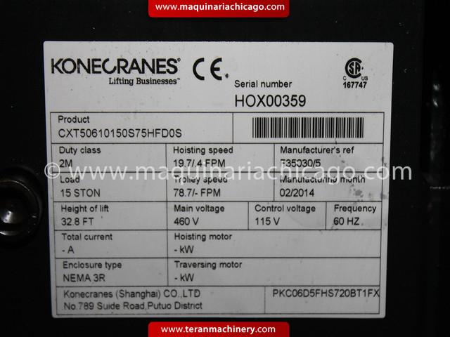 Polipasto KONECRANE Cap 15 ton Nuevo