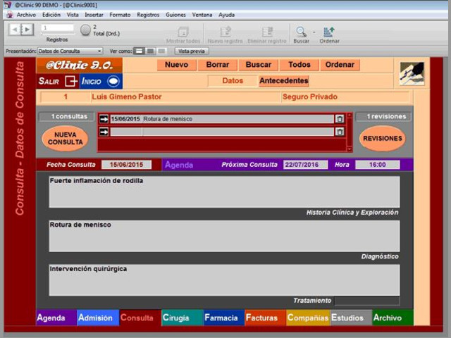 Software o Programa de Gestión Clínica Consultas Médicas @Clinic 9.0.