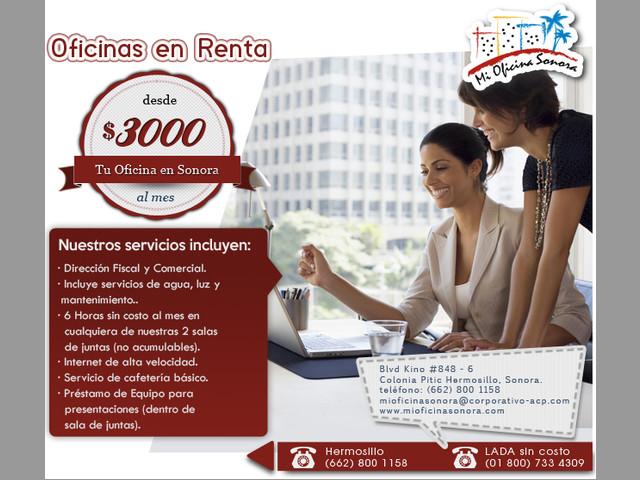 Renta de Oficinas Físicas Desde 3000 mxn HILLO SON