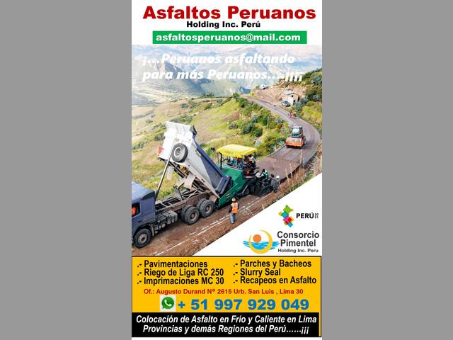 Costo por m2 de Asfalto Reparación Vial Perú 2022