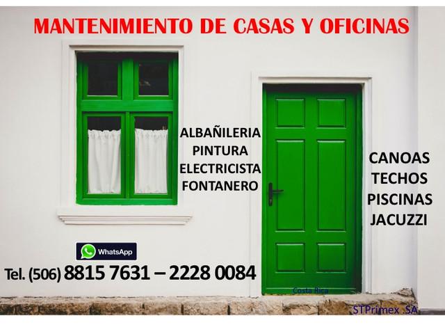 MANTENIMIENTO DE CASAS Y OFICINAS EN COSTA RICA.
