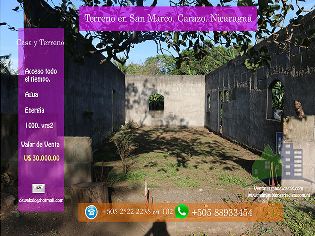se Vende Terreno en san marcos Carazo-Nicaragua