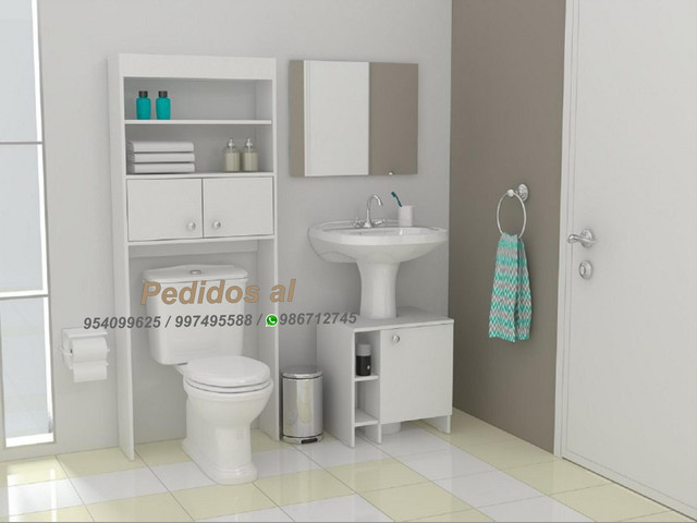 Muebles de melamina para baño (optimizador de baño madrid) s-240 soles