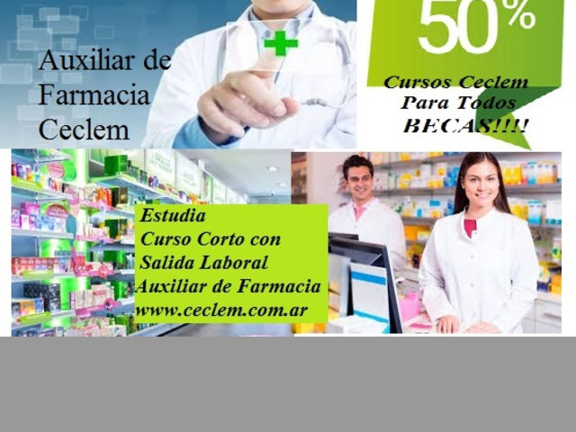 Curso AUXILIAR DE FARMACIA salida laboral Beca 50%
