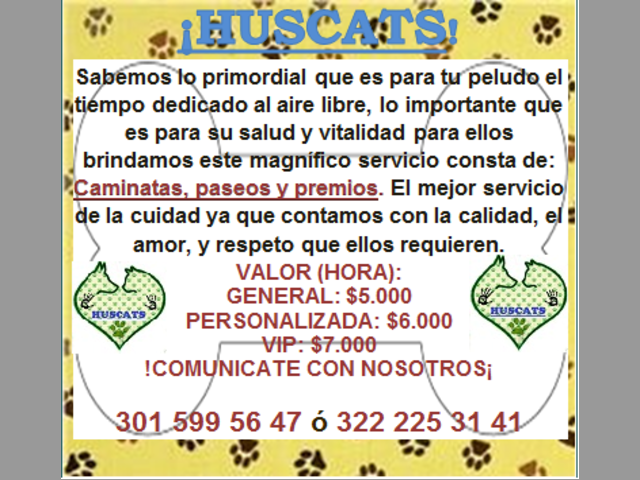 SERVICIO DE PASEADORES CANINOS HUSCATS