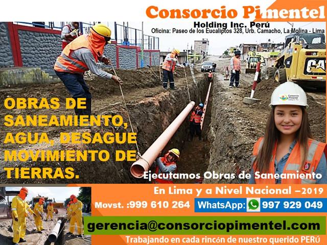 Obras de Saneamiento Agua, Desagüe, Alcantarillado Reservorios Perú 2019